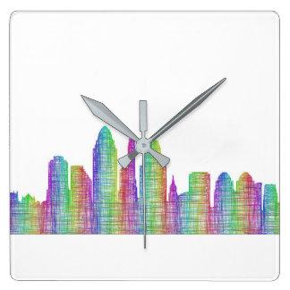 De stadshorizon van Cincinnati Vierkante Klok
