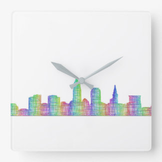 De stadshorizon van Cleveland Vierkante Klok