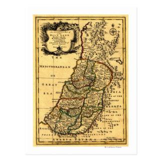 De stammen van Israël in Kaart PalestinePanoramic Briefkaart