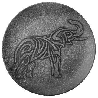 De StammenOlifant van het leer Porselein Bord