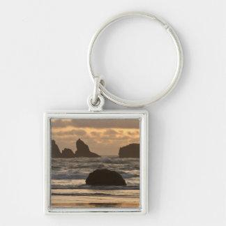 De stapels van het zee op het strand in Bandon, Or Sleutelhanger