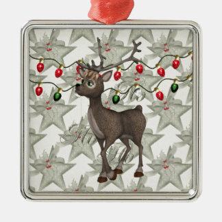 De status van Rendier met de Lichten van Kerstmis Zilverkleurig Vierkant Ornament