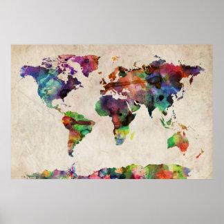 De Stedelijke Waterverf van de Kaart van de wereld Poster