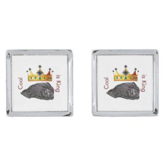 De steenkool is Cufflinks van de Koning Verzilverde Manchetknopen