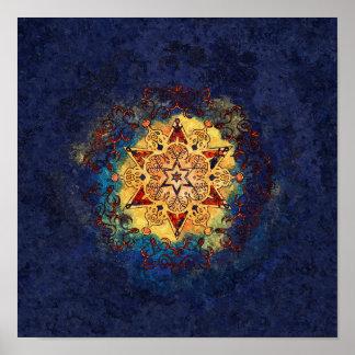 De ster glanst de Blauwe en Gouden Druk van het Poster