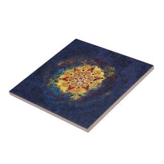 De ster glanst de Gouden en Blauwe Ceramische Tegeltje