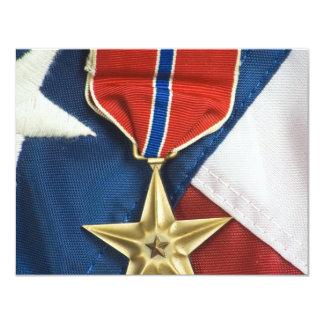 De Ster van het brons op Amerikaanse vlag 10,8x13,9 Uitnodiging Kaart