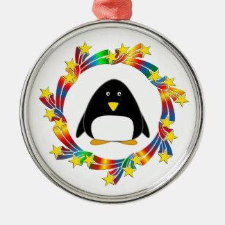 De Sterren van de pinguïn Zilverkleurig Rond Ornament