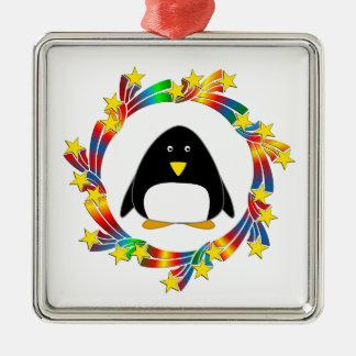 De Sterren van de pinguïn Zilverkleurig Vierkant Ornament