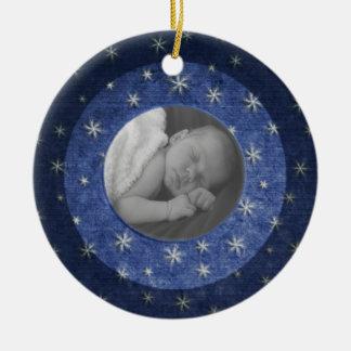 De sterrige Herinnering van de Foto van de Nacht Rond Keramisch Ornament