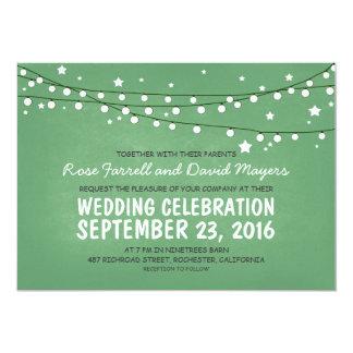 De sterrige Nacht steekt Groen Rustiek Huwelijk 12,7x17,8 Uitnodiging Kaart