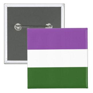 De stevige Vlag van de Trots Genderqueer Vierkante Button 5,1 Cm