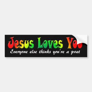De Sticker Jesus Loves You van de bumper