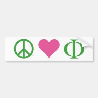 De Sticker van de Bumper van de Liefde van de vred Bumpersticker