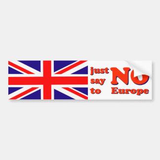 De Sticker van de bumper zegt Nr aan Europa