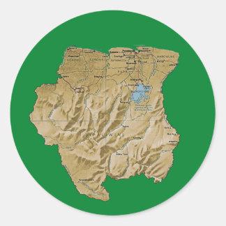 De Sticker van de Kaart van de Suriname
