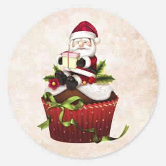 De Sticker van de Kerstman van Cupcake van