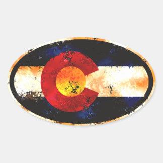 De Sticker van Grunge van de Vlag van Colorado