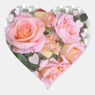 De Sticker van het Hart van rozen en van Harten ~