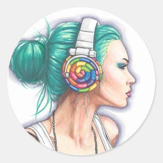 De Sticker van het Meisje van de Hoofdtelefoon van
