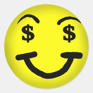 De Sticker van Smiley van het Teken van de dollar