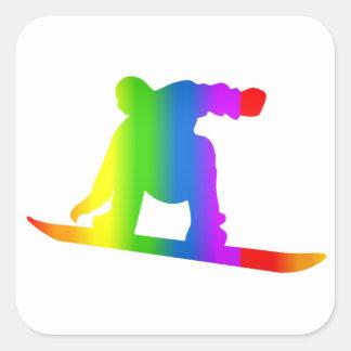 De Sticker van Snowboard Regenbogen van Bunter