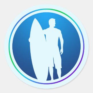De sticker van Surfer en van de Surfplank