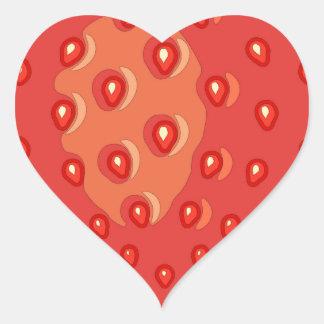 De Stickers van de aardbei (hart)