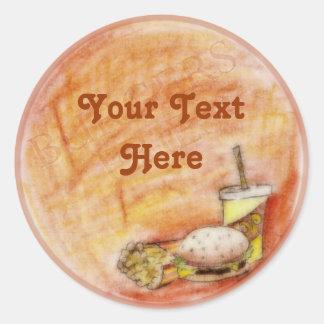 De Stickers van de hamburger en van Gebraden