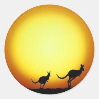 De Stickers van de Zonsondergang van de kangoeroe