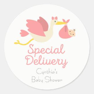 De Stickers van het Baby shower van de Ooievaar
