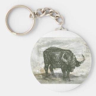 De Stier van buffels Basic Ronde Button Sleutelhanger