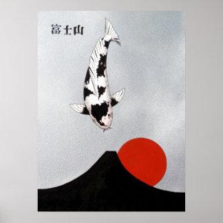 De Stijging Utsuri van de Zon van MT Fuji Mono Poster