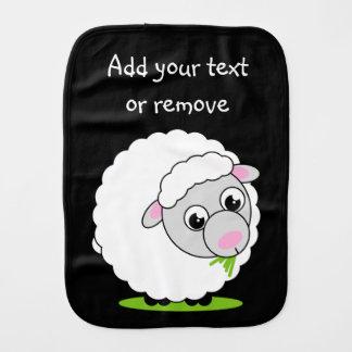 De stijl leuke en snoezige witte wollige schapen spuugdoekje