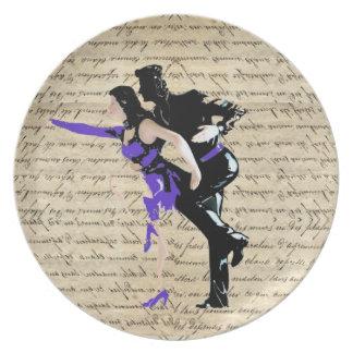 De stijl vintage dansers van het art deco melamine+bord