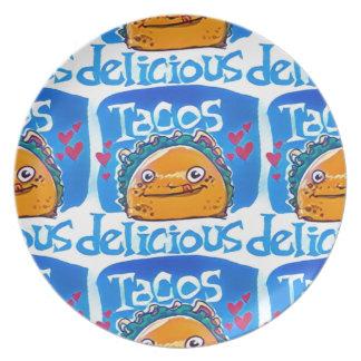 de stijlillustratie van de taco's heerlijke diner bord