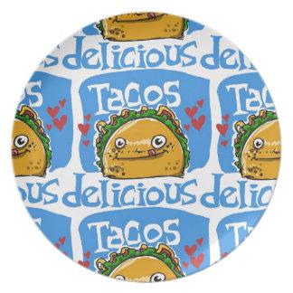de stijlillustratie van de taco's heerlijke party borden