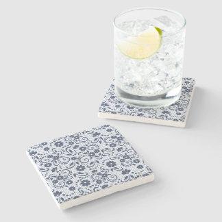 De stijlmarine van Hampton en witte bloemen Stenen Onderzetter