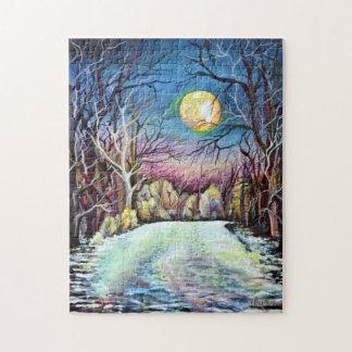 De stille Volle maan van de Winter van de Nacht in Puzzel