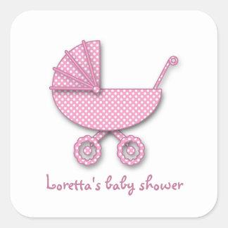 de stip van het babymeisje vierkante sticker