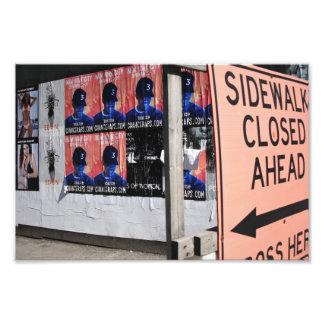 De stoep Gesloten Fotografie van de Straat van New Foto Afdrukken