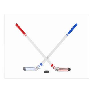 De stokken en de puck van het ijshockey briefkaart