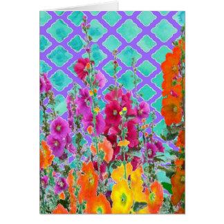 De stokroos-lila giften van het tuinRooster door Wenskaart
