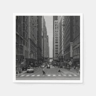De Straat Grayscale van Chicago Madison Wegwerp Servet