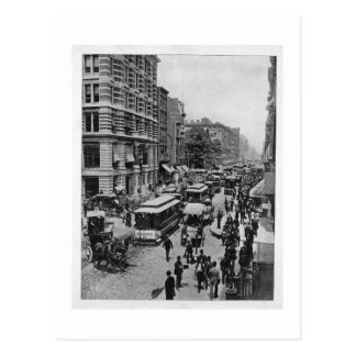 De straat van Broadway, New York, circa 1895 Briefkaart