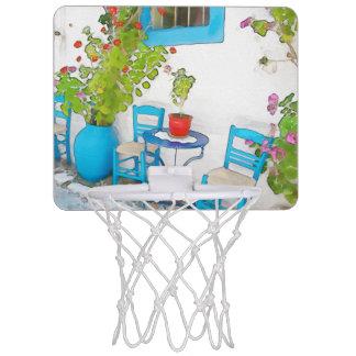 De straatuitzicht van de waterverf mini basketbalring