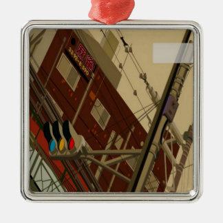 De stratenontwerp van New York Zilverkleurig Vierkant Ornament