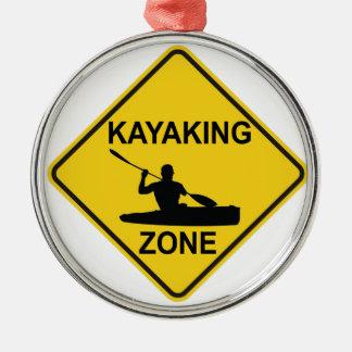 De Streek van Kayaking Zilverkleurig Rond Ornament
