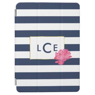 De Streep van de marine & het Roze Monogram van de iPad Air Cover