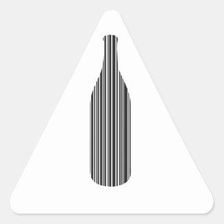 De streepjescode van de fles driehoekvormige sticker